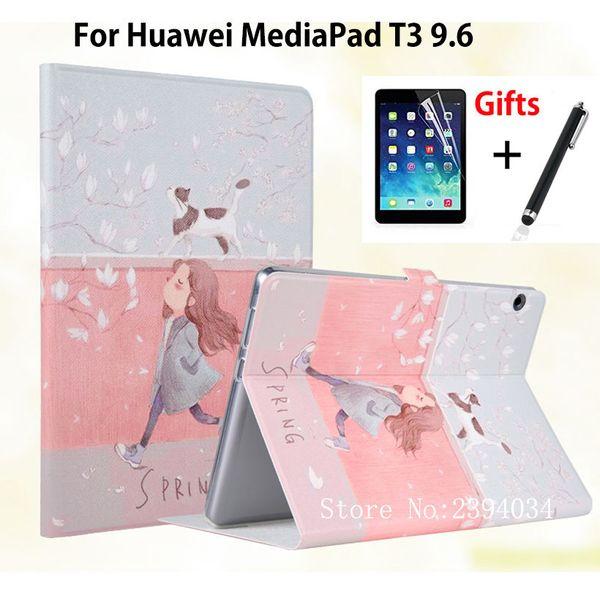 Caso magro pintado para huawei mediapad t3 10 AGS-L09 AGS-L03 9,6 polegadas Smart Cover Funda para Honor Play Pad 2 9,6 Capa + filme + caneta
