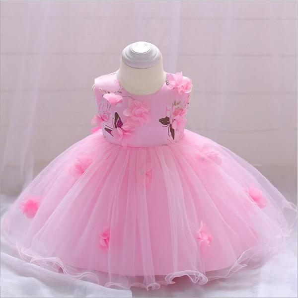 Bebek Kız Düğün Kıyafeti Elbise Bebek Kız Parti El-dikişli Çiçek Doğum Günü Elbise Için 6-24 M Vaftiz Doğum Günü Hediyesi elbiseler