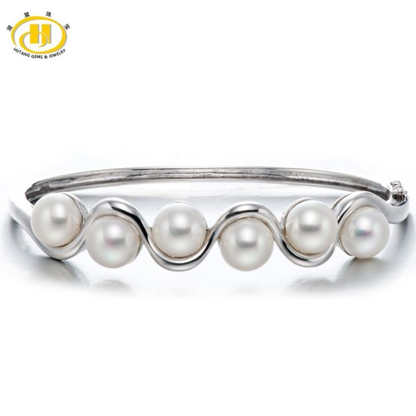 Hutang Pearl Jewelry Solid Sterling Silver Freshwater Pearl 925 Bangle Bracelet Wedding Party Fine Fashion Jewelry (8-8.5mm)