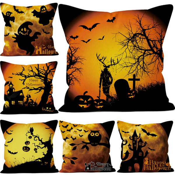 Halloween Pillow Case Halloween Pumpkin Bat Pattern Pillow Cover Sofa Cushion Cover only Without Core Home Decoration 45cmx45cm