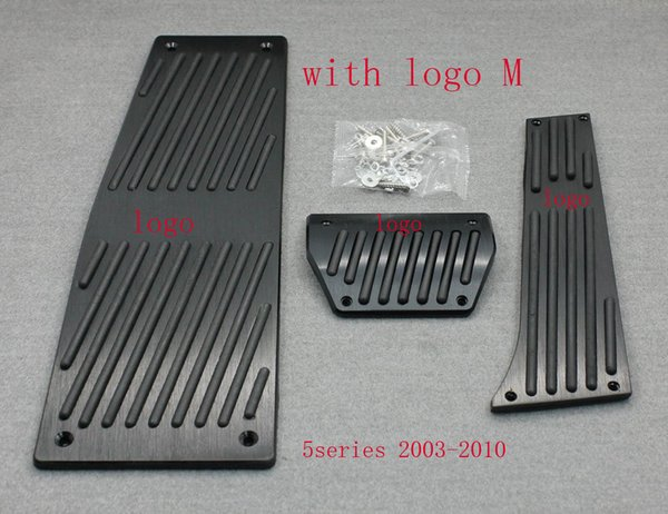 XYIVYG Color Black 3Pcs AT Brake Foot Rest Pedals Plate for 5 Series 2003-2010 E60 E61 With M Logo