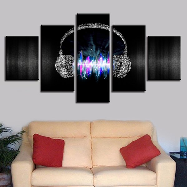 Art Painting HD Printed Modular Canvas 5 Pieces Electricity Waves Headphones Framed Home Decor Living Room Music Wall Pictures