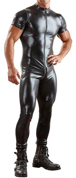 Mens Couro De Patente Bodysuit Macacão De Couro Dos Homens Negros Gay PU Lingerie Sexy Wetlook Catsuit Boate Traje Plus Size