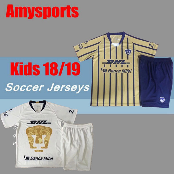 18 19 kids kit MEXICO Clube LIGA MX Universidade Nacional Futebol Jersey 2018 2019 UNAM Casa Fora Futebol Camisa HACHITA SOSA Football