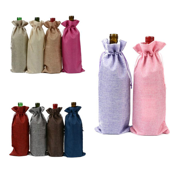 15x35cm jute wine bags 14 colors champagne wine bottle covers gift wraps pouch burlap packaging bags wedding party decoration 2269