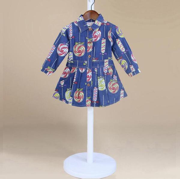 Camisa de vaquero 2018 INS primavera otoño NUEVA LLEGADA Niños puro Algodón de manga larga Preciosa lollipop impresión abajo cuello camisa de vaquero 2 colores