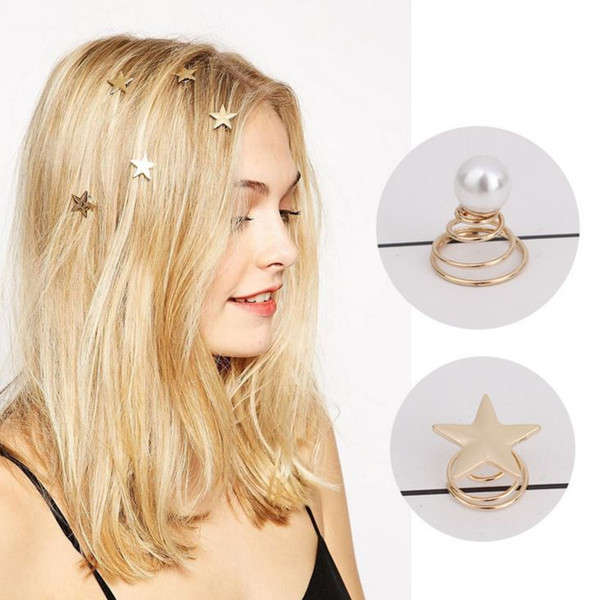 2018 European and American hair ornaments, exquisite pearl spiral hairpins, simple star rotating screws, small hairpins, and decorative hair
