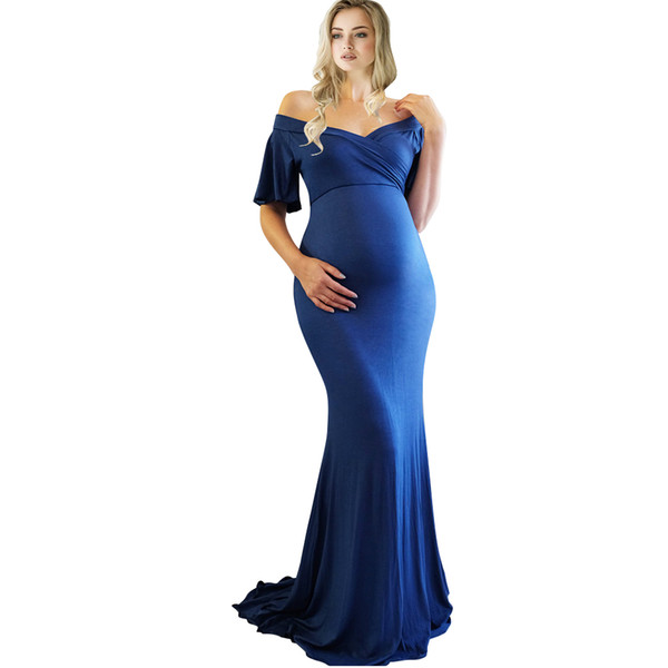 top popular Maternity Gown Dress Mermaid Style Baby Shower Dress V-Neck Maternity Photography Props Short Sleeve Pregnancy Dress 2020