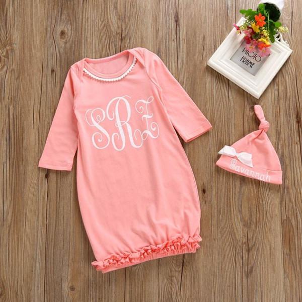 Neugeborenes Kind scherzt Baby-Mädchen nette Babyschlafsack lange rosa Hülsen-Pyjamas Kleid-Ausstattungs-Kleidung stellte Bett swaddle Decke #FI ein