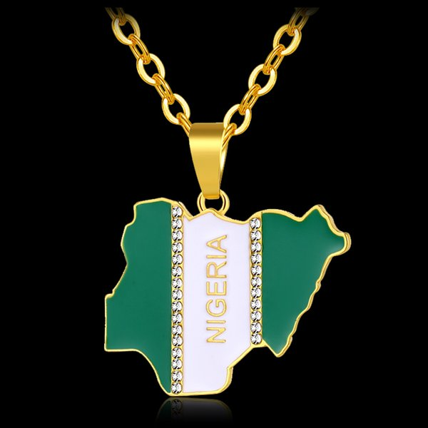 Africa NIGERIA Country Map & Flag Pendant Necklace for women/men Gold color Liberia Country MAP Jewelry gift