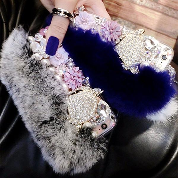 Luxury Rabbit Hair Fur Case Furry Fox Head Phone Cover Bling Diamond Shinning Flower Rhinestone Shell for iPhone X 6 7 8 Plus