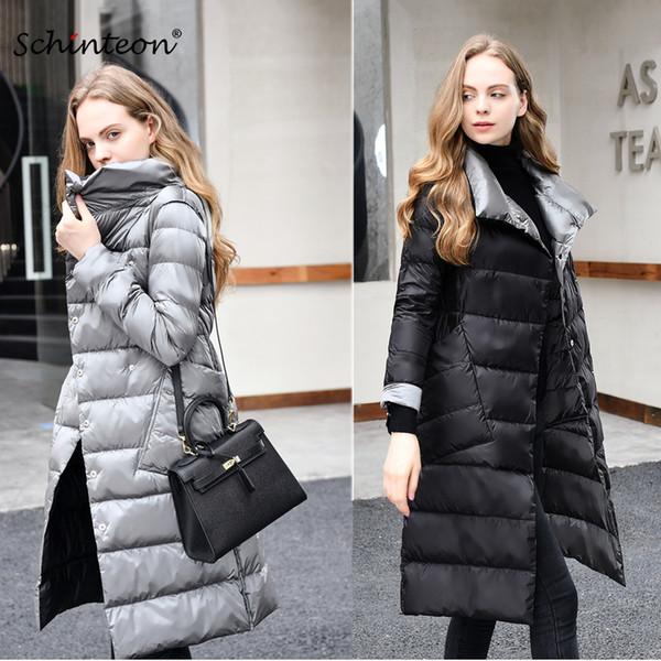 2019 2018 Ultra Light Down Jacket Reversible Two Side Wear 90% white duck down Long Coat Slim Stand Collar Outwear Waterproof