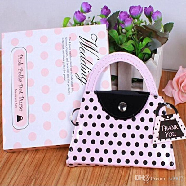 For Women Handbag Pink Polka Dot Purse Shape Nail Manicure Kit Easy To Carry Grooming Set Simple Practical 4cda dd