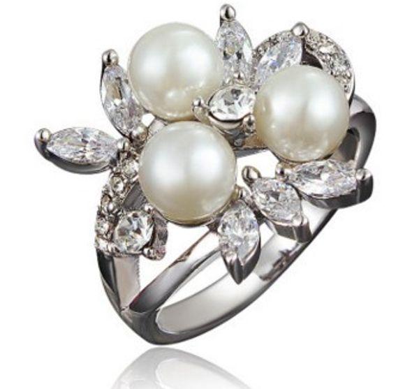 Silber 925 Silber Perle Perle Ring (11.8) rgfg