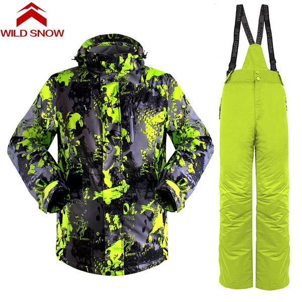 2018 Ski Suit Men Winter New Outdoor Windproof Waterproof Thermal Male Snow Pants sets Skiing And Snowboarding Ski Jacket