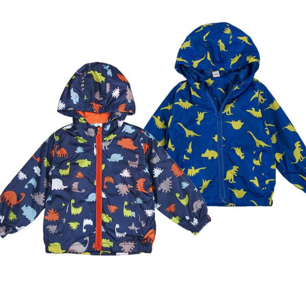 2018 Yeni Sıcak Çocuklar Kış Rüzgar Geçirmez Kapşonlu Ceket Çocuk Sonbahar Su Geçirmez Yağmurluk Erkek Bebek Dinozor Giysileri Kış Ceket