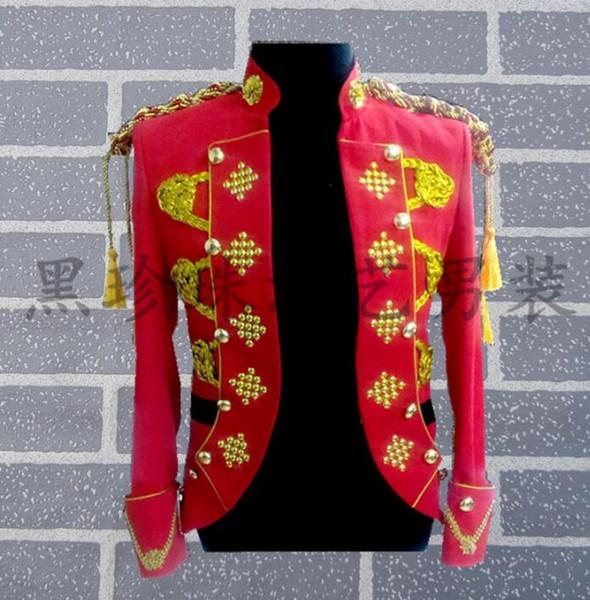 Red Men Suits Designs Royal Cosplay Costumi teatrali per cantanti Men Paillettes Blazer Abiti da ballo Jacket Style Dress Rock 2018 Nuovo
