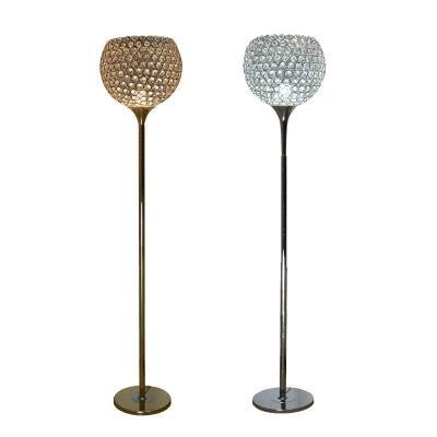 Amerikan Avrupa klasik fuaye standı Yuvarlak top kristal Lambader LED ampul isteğe bağlı Gümüş altın yuvarlak top kristal zemin ışık
