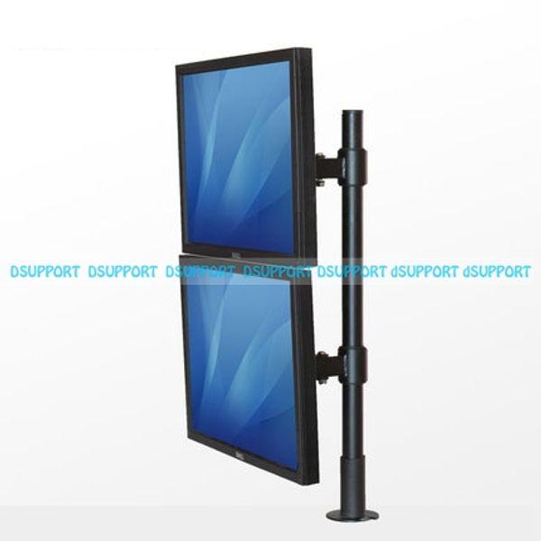 "SK103A & SK103B Desktop Grommet Mount 13-27"" Dual Screen Monitor Holder Free Lifting Full Rotation 2 LCD LED TV Mount Bracket"