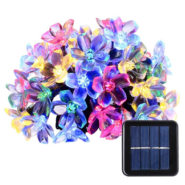 Solar String Lights 23ft 50 LED Fairy Blossom Flower Garden Lights for Outdoor Home Lawn Wedding Patio Party and Holiday Decorations
