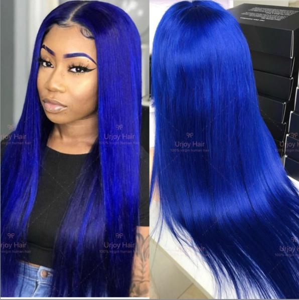 Blue full lace wigs virgin malaysian hair lace front wig preplucked natural hairline wig for black women