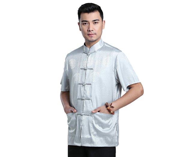 Shanghai Story Chinese Traditional Kung Fu Tops Short Sleeve Tang Suit Clothing For Men Faux Silk Chinese Shirt