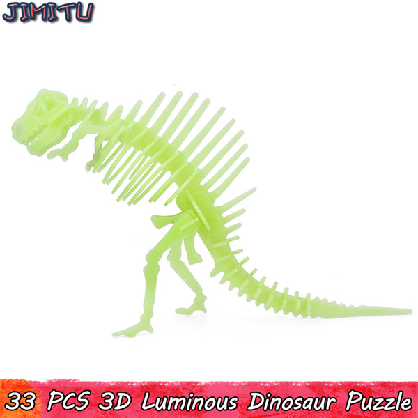 3D Aydınlık Dinozor Modeli Bulmaca Oyuncaklar Çocuklar için Interaktif Eğitici Jigsaw Oyuncak Fantastik Hediyeler Parlaklık Ev Partisi Süslemeleri