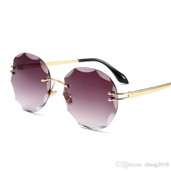 5e86ca5f15b3 Women Metal Cat Eye Sunglasses with Flower Rim Less Mirror Sun glasses  Fashion Lady Brand Design