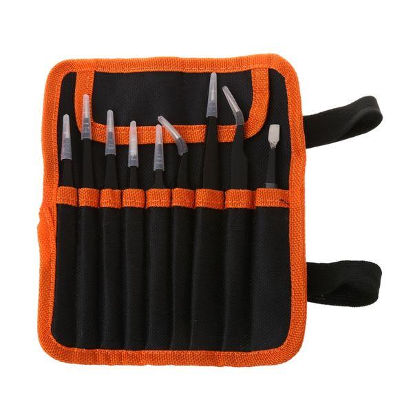 9Pcs/Set Stainless Steel Tweezers Electronic Tool Instruments Precision Anti-static Kit wiht Storage Bag