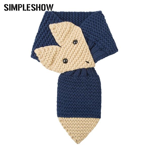 Bella sciarpa invernale per bambini Scaves caldi Ragazzi ragazze addensati Soft bambini sciarpa Cute Fox modello Warm Fashion Unisex