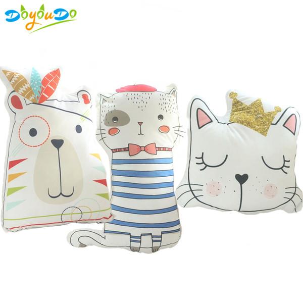 Kawaii Animals Cat Teddy Bear Plush Pillow Cute Soft Animal Shaped Toys Doll Baby Kids Bedroom Decoration Girl Creative Gift
