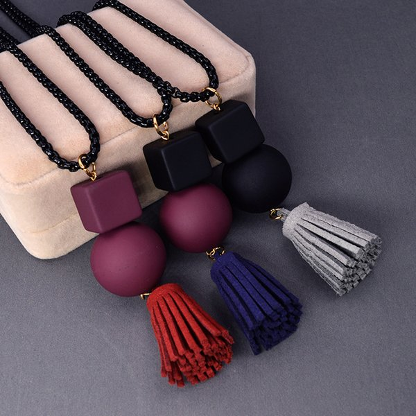 Intera venditaBohemia Style Women Long 3 Colour Collane High Quality Wood Handmade Nappe Collane Pendenti accessori per l'abbigliamento