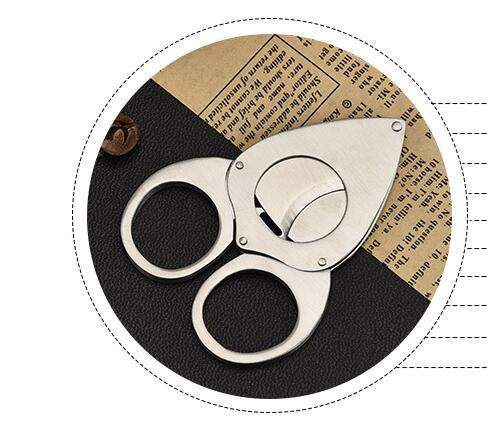 free shipping USA sharp double Blades cigar knife Stainless Steel Cigar Cutter Pocket Gadgets Cigars Scissors shears smoking accessories