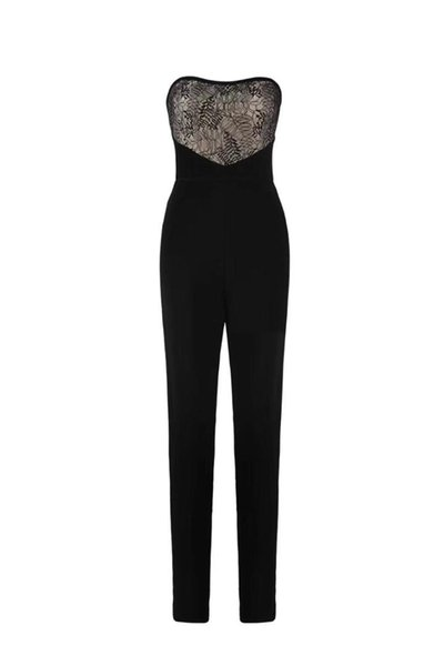 High Quality Sexy Strapless Lace Bandage Jumpsuit 2018 Elegant Knitted Designer Party Jumpsuit