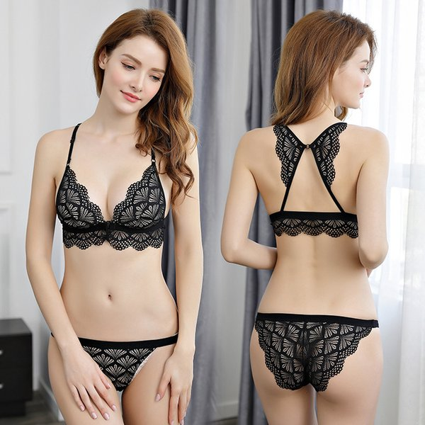 The New Model Of The Front Buckle Bras Without Steel Rim Bra Set Thin Sexy Lace Womens Underwear
