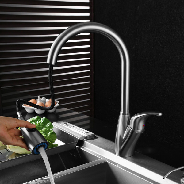 High-grade 304 stainless steel kitchen faucet pull rotating kitchen sink sink hot and cold water faucet