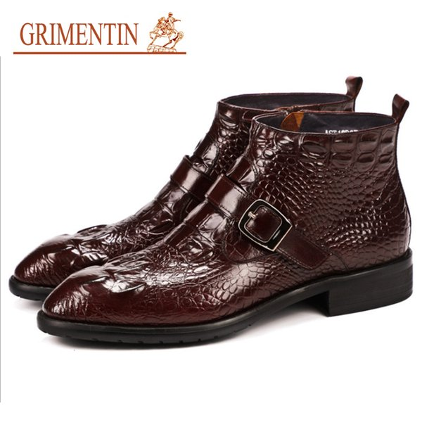 Plus Herren Business Von Luxus Büro Winter Mode Größe Krokodilleder Großhandel Formale Stiefeletten Herrenstiefel Grimentin Schuhe Klassischen uPXZOki