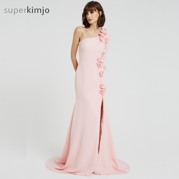 Real Picture Evening Dresses Pink Hand Made Flowers Side Slit One Shoulder Long Sleeve Side Slit Mermaid Floor Length Evening Prom Gowns