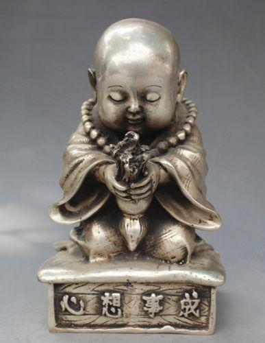 China Miao Silver Carve Little Buddha Sincerity Pray Come True Lucky Statue