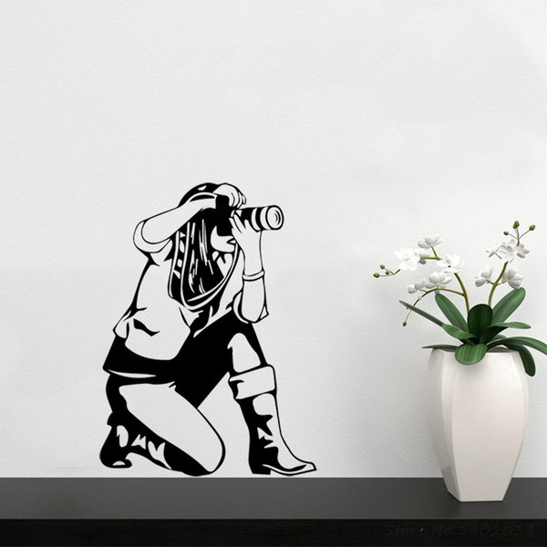 Sticker mural caméra fille stickers muraux autocollants en vinyle Cameraman photographe Art Design décoration de la chambre chambre