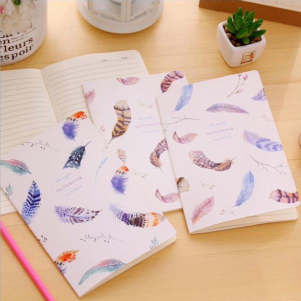 12pc/lot Colored feathers Student not/ car line A5 diary writing pad/fashion stitching book / notebook/Office supplier