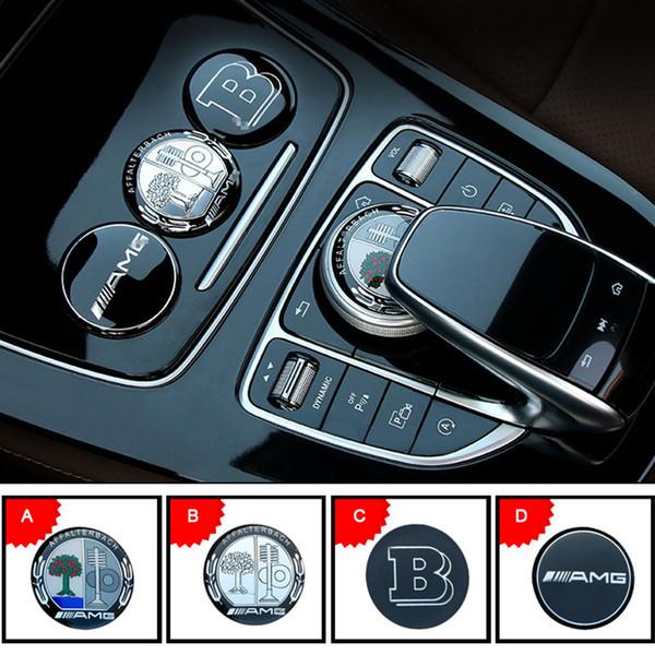 3D Metall AMG Apfelbaum Mittelkonsole Multimedia Knopf Dekorative Aufkleber Abdeckung für Mercedes BZ GLE C E GLC250 C200 E300 W205