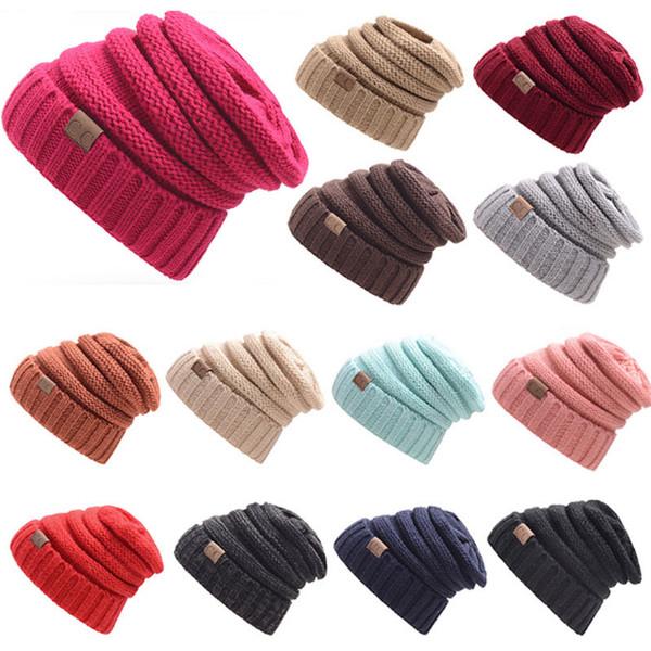 Unisexe CC Chapeaux Bonnets D'hiver Cap Tricoté Chaud Capuchons CC Chapeaux En Plein Air Chapeaux 15 Couleurs