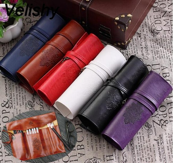 Velishy Women Vintage Roll Leather Purse Makeup Cosmetic Pen Pencil Brush Bag Case Pouch