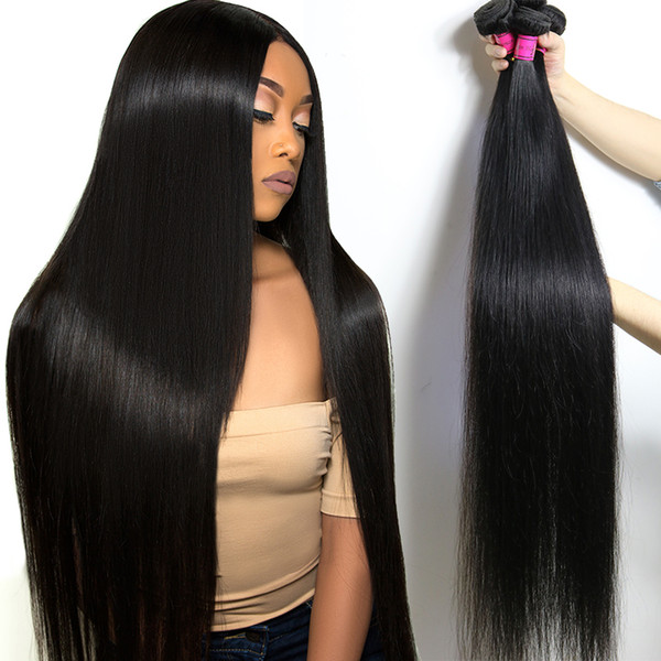 Brazilian Human Hair Bundles Straight 28 30 32 34 36 40 Inch 8A Unprocessed Straight Virgin Hair Weaves Wholesale Price Remy Hair Extensions