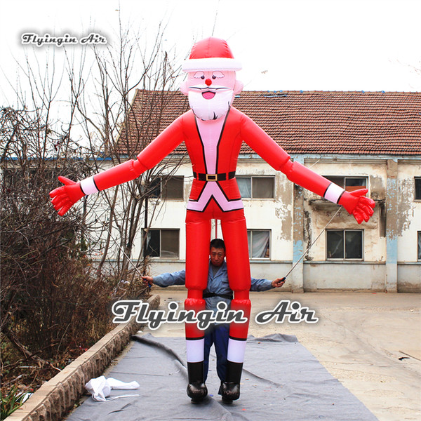 Performance Christmas Inflatable Santa Claus Costume 3.5m Height Hand Controlled Walking Marionette Puppet For Christmas Parade