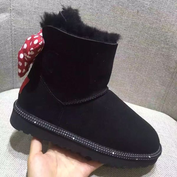 068e445ecbe Christmas Winter The New Child Snow Boots Uugg Keep Warm Breathable Girl  Mickey Bow Cowhide Short Tube Hellokitty Children'S Boots Toddler Boy Boots  ...