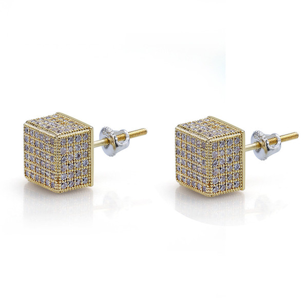 Hip Hop Earrings Gold Silver Color Iced Out Micro Pave CZ Stone Square Stud Earring With Screw Back