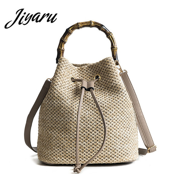 Summer Straw Bucket Bag Drawstring Shoulder Bags Round Rattan Bag Purse Handbag Large Beach Tote for Woman Ladies Crossbody