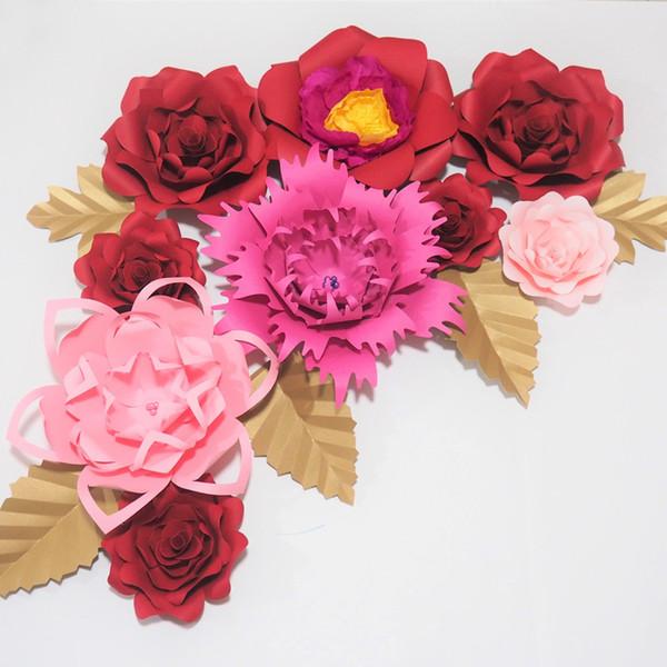 Giant Paper Artificial Flowers Telón de fondo 9PCS + 5 hojas para bodas Decoración para bebés Baby Nursery Retail Store Deco Photograpy